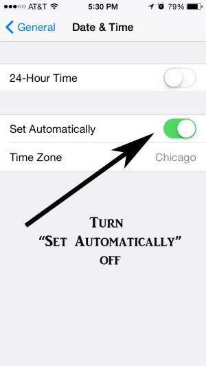 Slide Set Automatically Button over to shut it off