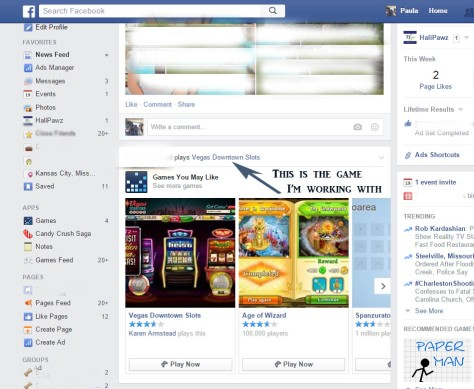 Selecting a Game you no longer want to see on your newsfeed in Facebook