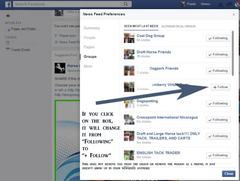Make sure the ones you do not want showing up in your news feed have and + before the word follow.