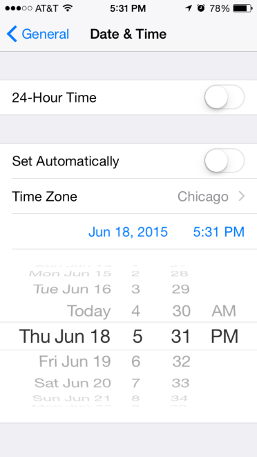 Rolling Calendar on iPhone