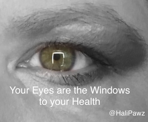 Health through eye exam, hazel eyes