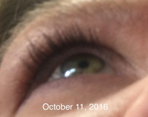 Eyelashes after using Revitalash Advanced eyelash conditioner